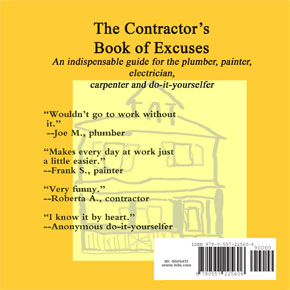 back cover of contractor's book of excuses